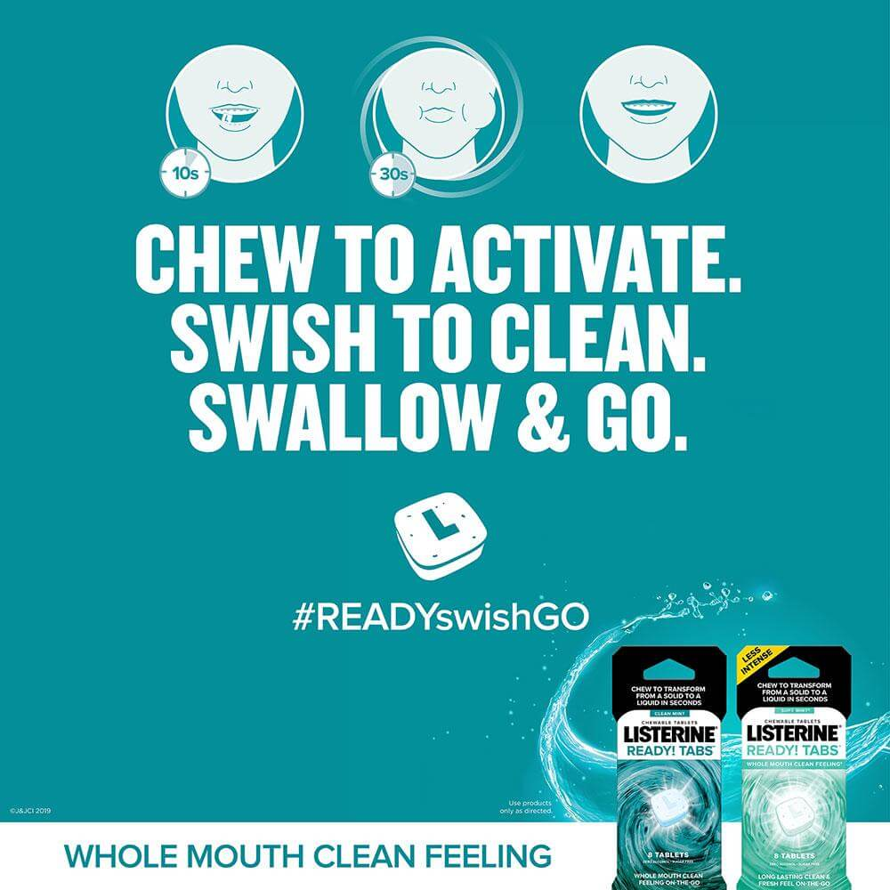 listerine ready tabs soft mint chew chew to activate swish to clean swallow and go blue
