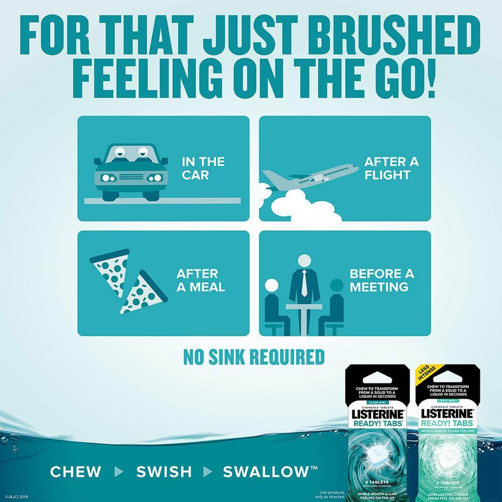 listerine ready tabs soft mint for that just brushed feeling on the go chart