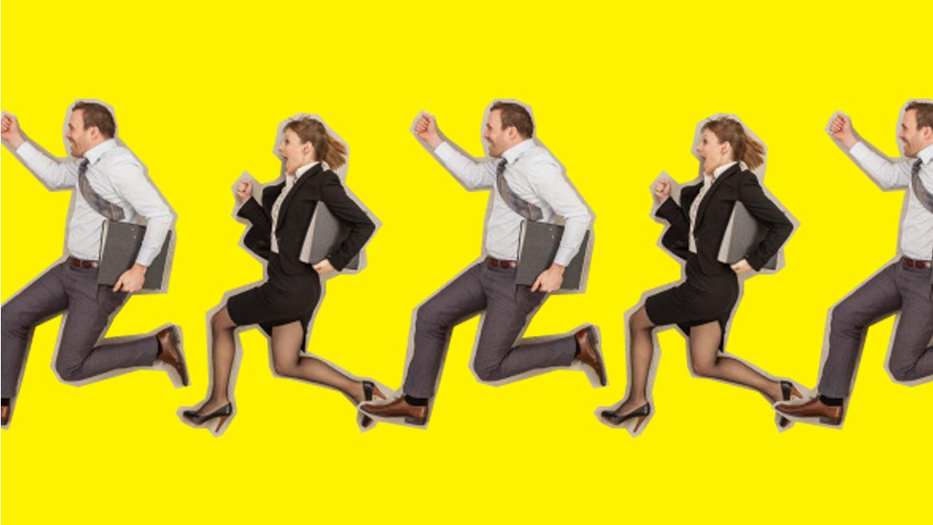 people in suits running with yellow background