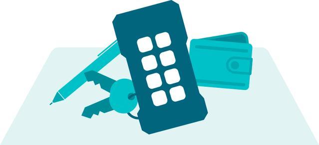 keys, wallet, ready tabs blue